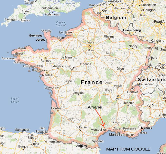 Aniane on Map of France